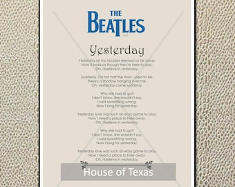 All you need is love beatles lyrics printable art love yesterday print the beatles beatles lyrics from the singles collection beatles gift beatles gift beatles quotes beatles art stopboris Images