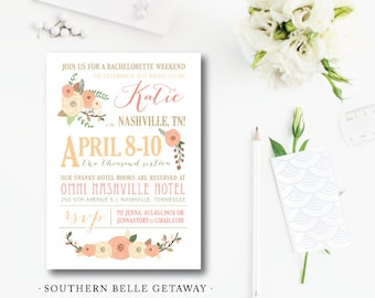 Southern Belle Getaway Bachelorette Party Invitations