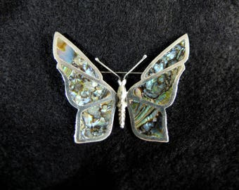 Vintage Mexican Sterling Silver and Abalone Butterfly Brooch, Signed