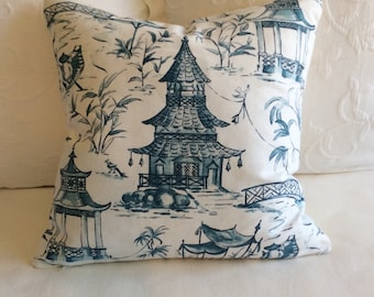 Pagodas Seaside blues pillow cover  20x20