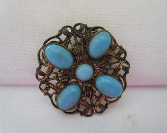 Beautiful Dress Clip with Turquoise Stones