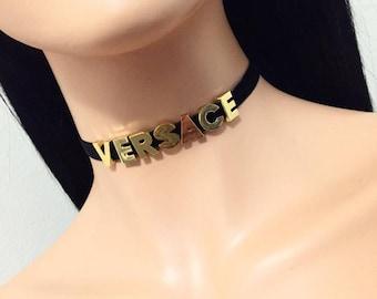 VERSACE Name Choker - Custom - Customizable Choker - Your Name Choker - Velvet Choker, Gold/ Silver Letters Choker, Word Choker