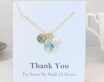 Thanks for being my Maid Of Honor,Aquamarine Necklace,Blue Bridesmaid Necklace,Wedding,Bride Necklace,Rose Gold,Rose Gold Necklace,Initial