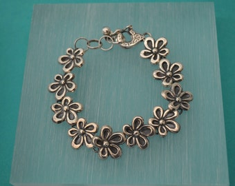 Sterling silver Bracelet Rose, silver 950, fine jewelry, flower design