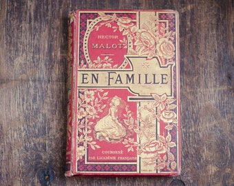 Antique french book, en famille hector malot, french literature, illustrated antiquarian book, red gold hardcover, collectible book,