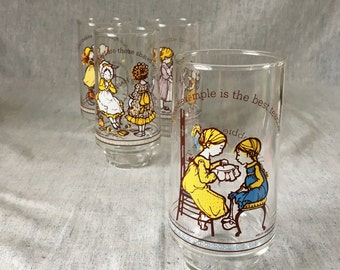 Vintage Limited Edition Coca Cola Hollie Hobbie Drinking Glasses, Set of 4, Hollie Hobbie Happy Talk Tumblers