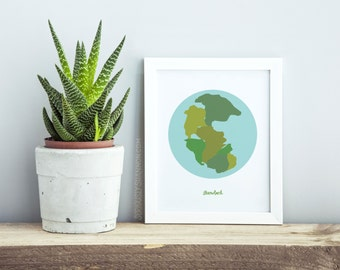 "Pangaea Print, Science Art, Science Sign, Science Poster, Geeky Gifts, Wall Art Print, ""Pangaea Throwback"""