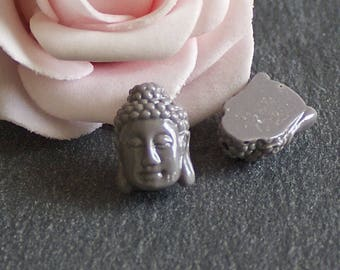 x 4 mini grey dyed synthetic coral Buddha head beads taupe 15x10mm