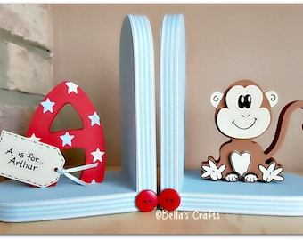 Personalised Monkey Bookends for children. Set of 2 bookends, one with a personalised letter another one with a Monkey.