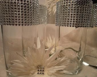 Set of (10)  Rhinestone Crystal Ribbon Bouquet Vases Rhinestone Vases Wedding Bouquet Vase