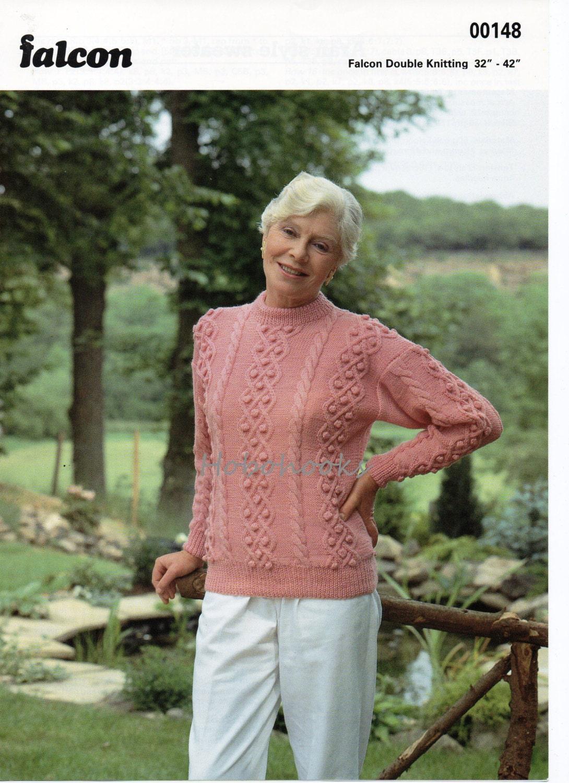 womens bobble stitch sweater knitting pattern pdf round neck cable ...