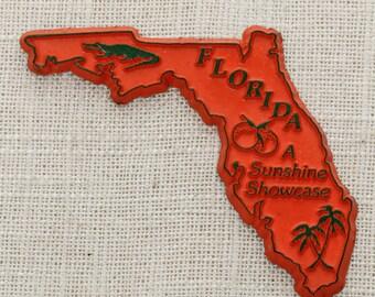 "Florida Vintage State Magnet | ""A Sunshine Showcase"" Travel Souvenir Tourism Summer Vacation Memento | USA Orange America Fridge 5S"