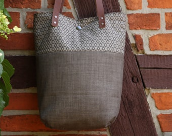 Shoulder bag with leather handles, shopper, tote, fabric bag, mud brown