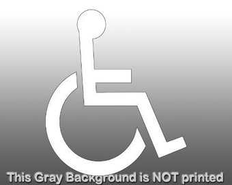 White Handicap Wheelchair Logo Window Sticker