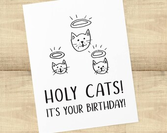 Holy Cats It's Your Birthday! birthday card for cat lovers; blank inside, envelope included