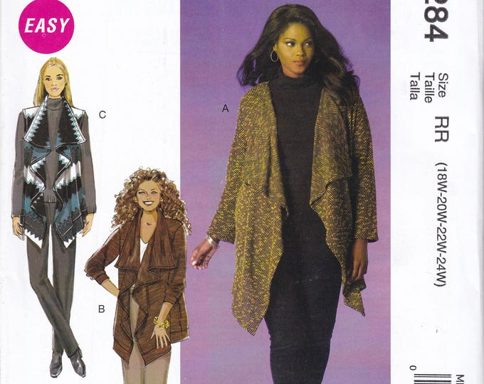 FREE US SHIP McCall's 284 7484  Kaliah Ali Waterfall Jacket Vest Out of Print Size 18 20 22 24 Plus Size Bust 40 42 44 46