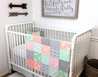 Woodland Nursery Decor Nursery Bunting Boho Baby Girl Nursery Decor Arrow Tribal Fabric Bunting Banner Garland Blush Pink Mint Stag Deer