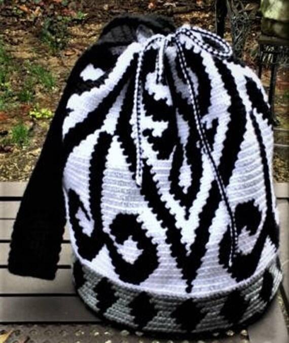 Black and White Scroll Tapestry Crochet Wayuu Drawstring Bag