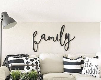 Family Word Wood Cut Wall Art Sign Decor