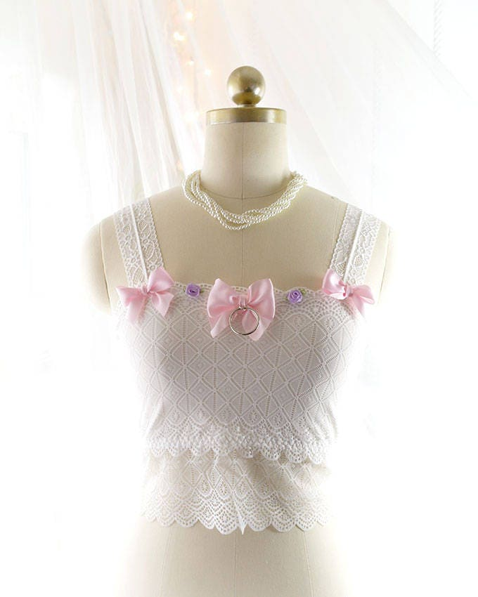 ae06965ac6214 White Lace Pink Bow O Ring Purple Rose Tube Crop Tank Top