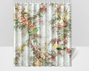 Vintage Floral Chinoiserie and Birds Shower Curtain