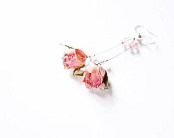 English garden rose jewelry, Boho Dangle rose earrings, Shabby dangle gift, Pink rose dangle, lovely floral jewelry, women gift Bohemian