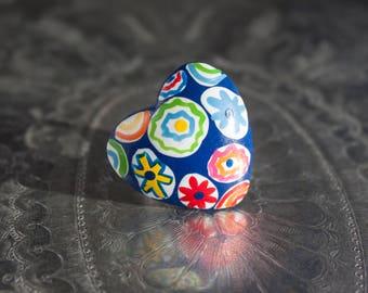 Painted Millefiori Wood Heart Adjustable Ring