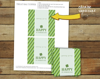 Printable St Patrick's Day party treat bag toppers - Happy St. Patrick's Day favor bag tags - editable pdf instant download
