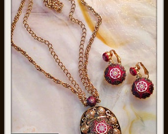 Vintage  Gold Red Black Moroccan Necklace Earrings Demi Parure Set Celebrity 1960s FREE SHIPPING