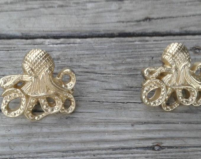 Octopus Drawer Pull, Golden Octopus Drawer Pull, Drawer Knob, Dresser Knob,  Octopus