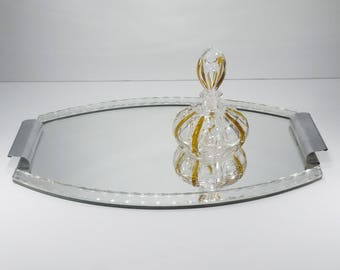 French vintage Mirrored Vanity Tray, Mid Century Etched Mirror and Chrome Serving Tray, Cottage Chic Boudoir Decor