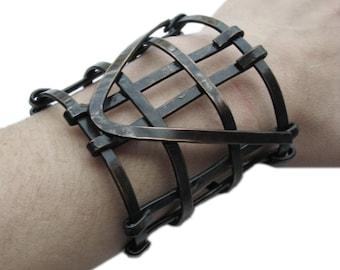 Copper Cuff bracelet - Geometric Jewelry - Half Automaton Copper Cuff - Art Deco Revival - Solid Copper - Blackened- handmade in Austin, Tx