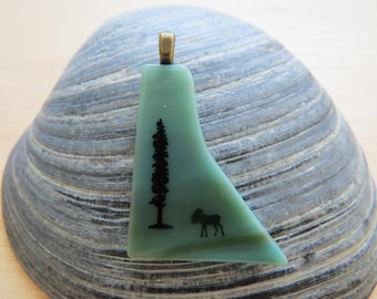 Moose and Tree on Green Fused Glass Pendant