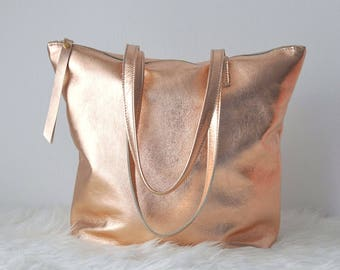 Borsa in pelle oro rosa, borsa in pelle con cerniera, borsa pelle, borsa oro, shopper in pelle, borsa metallizzata, shopper dorata