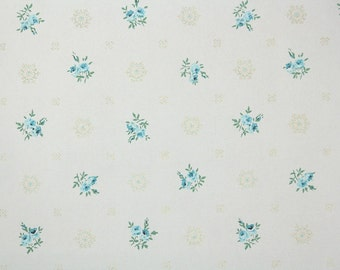 1950s Vintage Wallpaper by the Yard - Floral Wallpaper with Blue Flowers