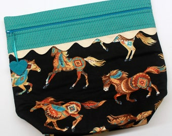 Big Bottom Southwest Horses Cross Stitch, Embroidery Project Bag