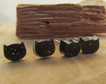 black cat earrings, cute cat earrings, gold earrings, silver studs, cat earrings, cat jewelry, resin studs, cat studs, cat stud earrings
