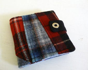 Red and Blue Patchwork Wool Wallet with snap closure, 6 card slots