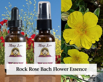 Rock Rose Bach Flower Essence, Dropper or Spray for Calm and Courage when Feeling Fear or Anxiety
