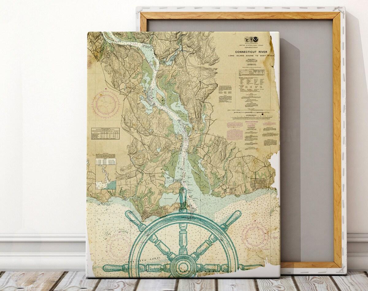 Custom Nautical Canvas Map Art Nautical Canvas Print