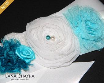 White Turquoise Teal Flower Girl Sash Floral White Satin Wedding Sash Teal White Flower Girl Belt White Turquoise Sash Flower Girl Gifts