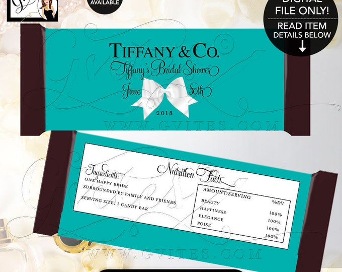 """Turquoise Candy Bar Wrapper bridal shower wrappers, Breakfast at Bride and Co labels Customizable colors & text.  {2 Per/Sheet 5.25 x 5.75""""}"""