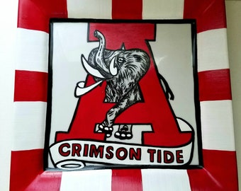 Hand Painted Alabama Crimson Tide plate/ graduation/Housewarming/Gift for her/Gift for him/ college/ Father's day/Retirement/Tailgate/Gift