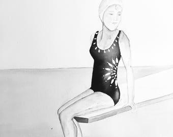 Vintage swimmer, bathing beauty, black ink drawing, beach home art