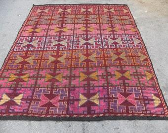 kilim rug free shipping VINTAGE TURKİSH antalya cecim kilim Anatolian handwoven kilim rug  kilim - SİZE : 78'' X 108'' ( 195 cm X 270 cm)