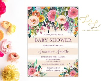 Bright and Brilliant Floral Baby Shower Invitation - Printable Baby Shower Invitation - Printed Baby Shower Invitation