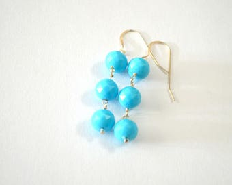 Faceted Turquoise Vintage Bead Sterling Silver Dangle Earrings