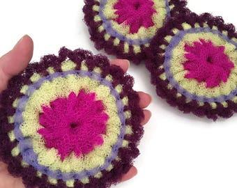 Flower Dish Scrubbies,Folksy Flower Nylon Scrubbers, Double Layered, Tawashi Scrubbers, Housewarming,Kitchen Decor,Shower Gift