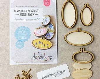 4 Pack of mini embroidery hoops. Dandelyne Hoops. Multi pack bundle. Dandelyne Assorted Oval Embroidery Hoops. Miniature embroidery hoops