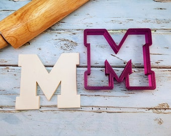 Varsity Letter M Cookie Cutter and Fondant Cutter and Clay Cutter with Optional Punch Out